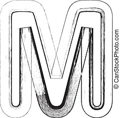 Grunge font. Letter M