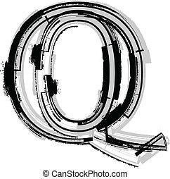 Grunge font. Letter Q