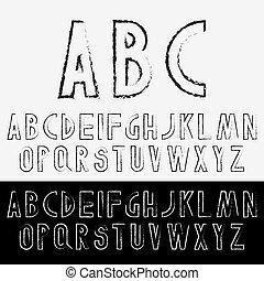 Grunge font letters set