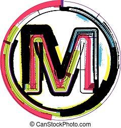 grunge, font, m, colorito, lettera