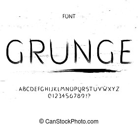 Grunge font. Vector alphabet letters and numbers. Typeface...