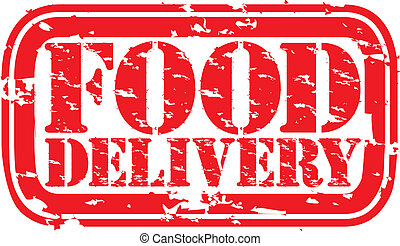 Grunge food delivery rubber stamp,