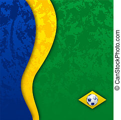 Grunge football background in Brazil flag colors -...