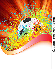 Grunge football poster with soccer ball. EPS 8