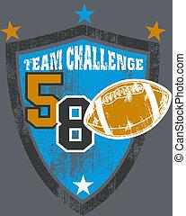 Grunge football team shield - Grunge style illustration of...
