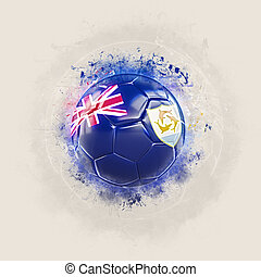 Grunge football with flag of anguilla