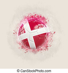 Grunge football with flag of denmark. 3D illustration