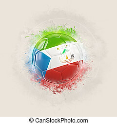 Grunge football with flag of equatorial guinea