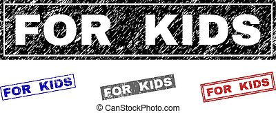 Grunge FOR KIDS Scratched Rectangle Stamp Seals
