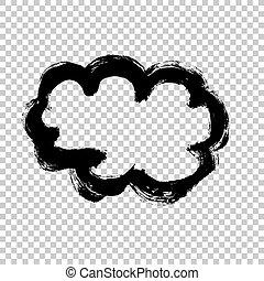 grunge, forma, colpi, striscio, bianco, fondo., hand-drawn, vettore, spazzola, silhouette, macchia, texture., nuvola