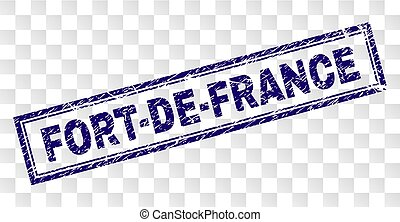 FORT-DE-FRANCE stamp seal print with rubber print style and double framed rectangle shape. Stamp is placed on a transparent background.