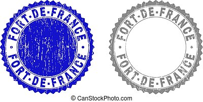 Grunge FORT-DE-FRANCE stamp seals isolated on a white background. Rosette seals with grunge texture in blue and gray colors. Vector rubber overlay of FORT-DE-FRANCE title inside round rosette.