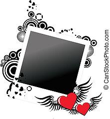 grunge, fotografi inrama, två, valentinbrev, hjärtan