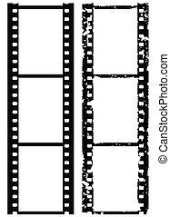 grunge, fotografia, brzeg, 35 mm, film, wektor, ilustracja