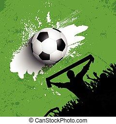grunge, foule, football, /, fond, football