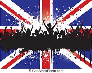 grunge, foule, sur, a, union jack, drapeau, fond