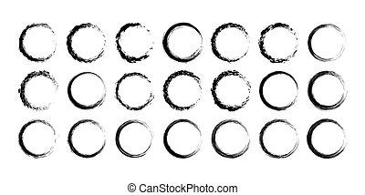 grunge, frame., 框架, 現代, 彙整, 黑色的圓, 輪, 空, set.