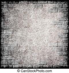 grunge, frame., abstratos, fundo, monocromático, tijolo