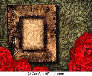 grunge frame and roses