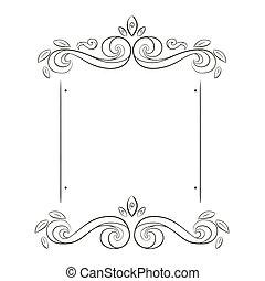 grunge, frame, bloemen, silhouette