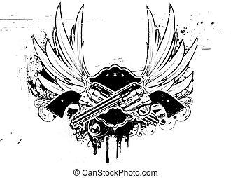 grunge frame - Vector illustration of Two cowboy revolver...