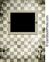 Grunge frame from old papers on the abstract chess  background