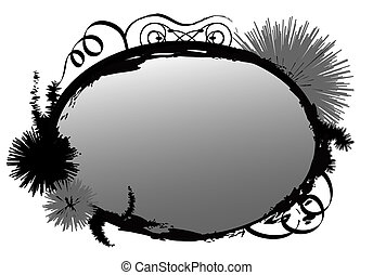 Grunge Frame - Grunge frame oval with flowers over a white...