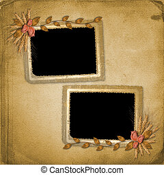 Grunge frame in scrapbooking style with bunch of rose
