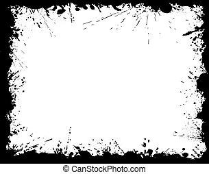 Ink splattered grunge border frame