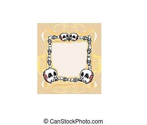 grunge, frame, met, schedel, in, ouderwetse , stijl