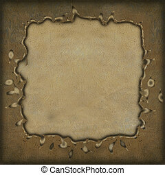 Grunge frame on parchment textured background