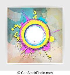 Grunge frame on the Abstract Multicolored geometric background w