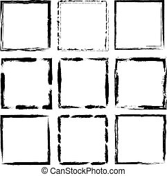 Grunge frame set. Vector illustration. Isolated on white.