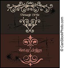 grunge, frame., szüret, két, vektor, sablon