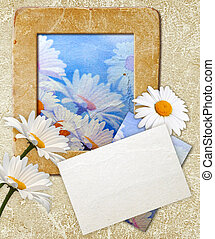 Grunge frame with daisy and paper