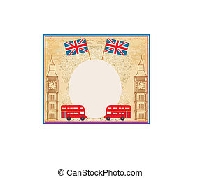 grunge frame with icons of London