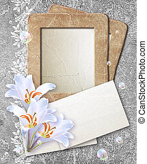 Grunge frame with lilies and paper
