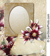 Grunge frame with lilys and paper