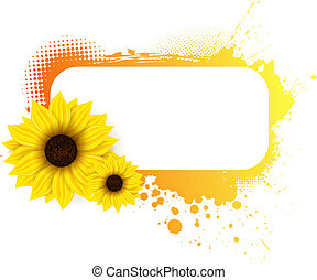 Grunge frame with sunflowers