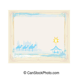 grunge frame with  traditional Christian Christmas Nativity