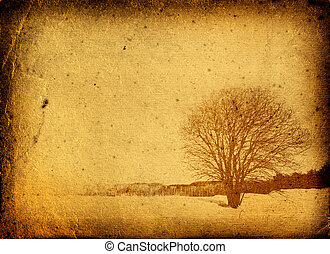 grunge frame with tree silhouette