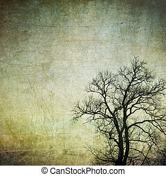 grunge frame with tree silhouettes