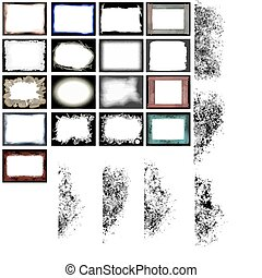 grunge frames and edges vector