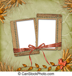 Grunge frames in scrapbooking style with bunch of rose