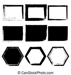 Grunge frames set, black isolated on white background, vector illustration.