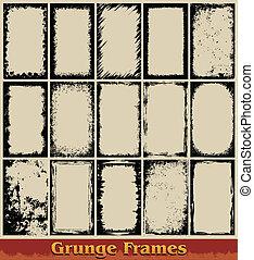 Grunge Frames - Vector set representing fifteen grunge...