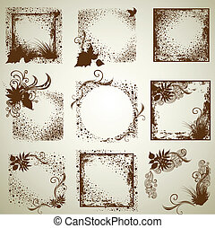 grunge frames with Autumn Leafs. Th