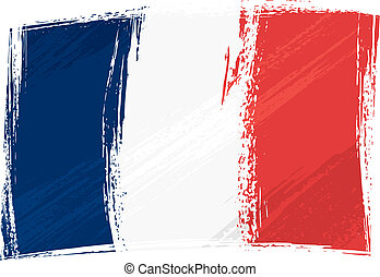 France national flag created in grunge style