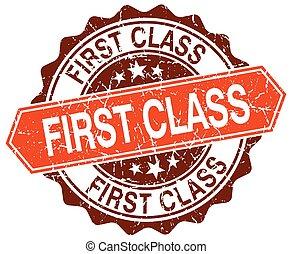 grunge, francobollo, classe, arancia, bianco, rotondo, primo