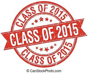 grunge, francobollo, isolato, retro, 2015, classe, nastro, rosso